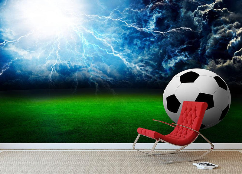 Football field soccer stadium Wall Mural Wallpaper - Canvas Art Rocks - 1