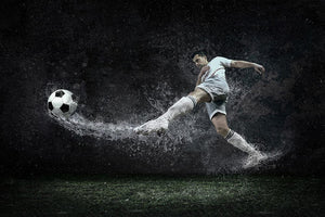 Football player under water Wall Mural Wallpaper - Canvas Art Rocks - 1