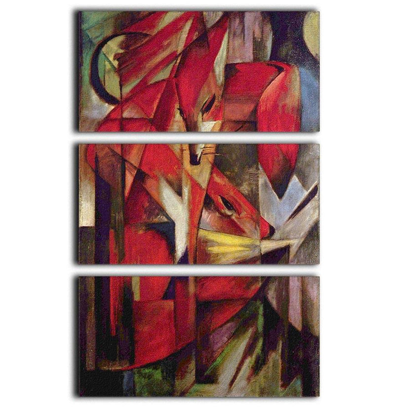 Foxes by Franz Marc 3 Split Panel Canvas Print - Canvas Art Rocks - 1