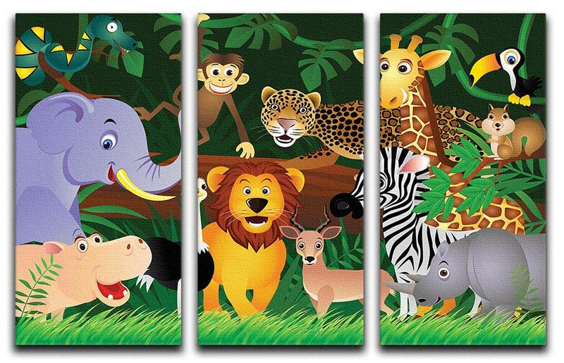 Frendly Animals in the jungle 3 Split Panel Canvas Print - Canvas Art Rocks - 1
