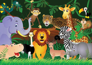 Frendly Animals in the jungle Wall Mural Wallpaper - Canvas Art Rocks - 1