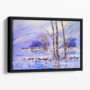 Frozen Tree Painting Floating Framed Canvas