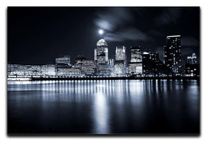 Full moon over London skyscrapers Canvas Print or Poster  - Canvas Art Rocks - 1