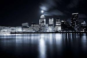 Full moon over London skyscrapers Wall Mural Wallpaper - Canvas Art Rocks - 1