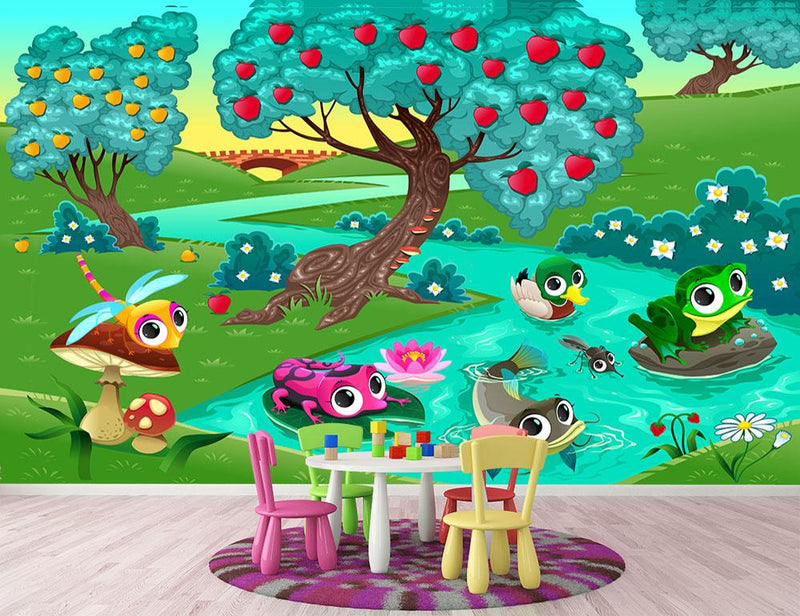 Funny animals on a river in the wood Wall Mural Wallpaper - Canvas Art Rocks - 1