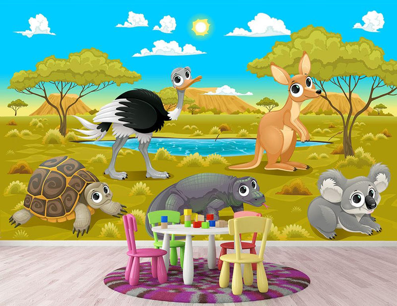 Funny cartoon Australian animals Wall Mural Wallpaper - Canvas Art Rocks - 1