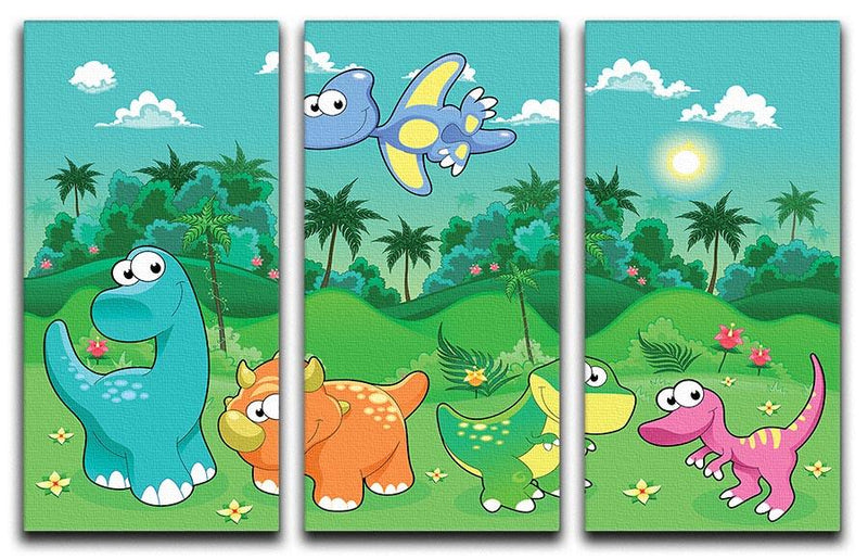 Funny dinosaurs in the forest 3 Split Panel Canvas Print - Canvas Art Rocks - 1