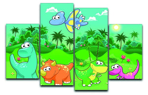Funny dinosaurs in the forest 4 Split Panel Canvas  - Canvas Art Rocks - 1