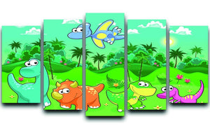 Funny dinosaurs in the forest 5 Split Panel Canvas  - Canvas Art Rocks - 1