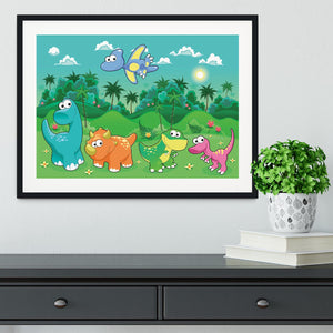 Funny dinosaurs in the forest Framed Print - Canvas Art Rocks - 1