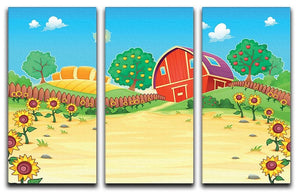 Funny landscape with the farm and sunflowers 3 Split Panel Canvas Print - Canvas Art Rocks - 1