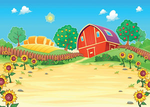 Funny landscape with the farm and sunflowers Wall Mural Wallpaper - Canvas Art Rocks - 1