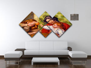 Gabrielle Jean and a girl by Renoir 4 Square Multi Panel Canvas - Canvas Art Rocks - 3