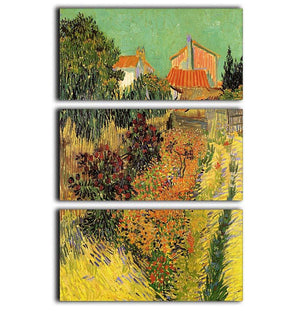 Garden Behind a House by Van Gogh 3 Split Panel Canvas Print - Canvas Art Rocks - 1
