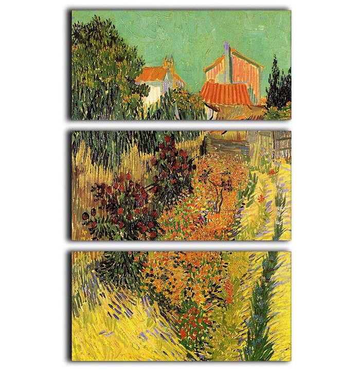 Garden Behind a House by Van Gogh 3 Split Panel Canvas Print