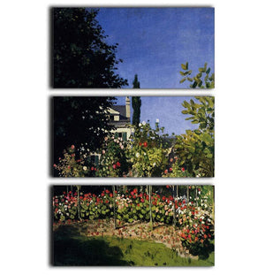 Garden In Flower At Sainte Adresse by Monet 3 Split Panel Canvas Print - Canvas Art Rocks - 1