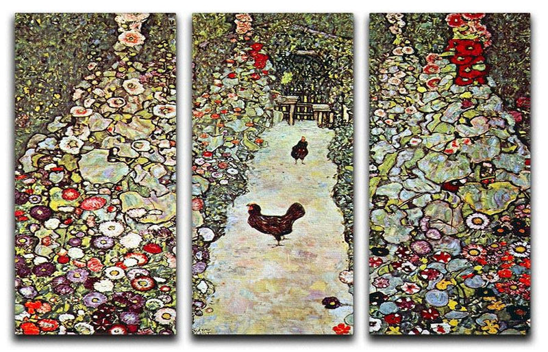 Garden Path with Chickens by Klimt 3 Split Panel Canvas Print - Canvas Art Rocks - 1