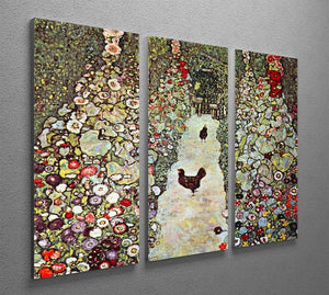 Garden Path with Chickens by Klimt 3 Split Panel Canvas Print - Canvas Art Rocks - 2