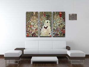 Garden Path with Chickens by Klimt 3 Split Panel Canvas Print - Canvas Art Rocks - 3