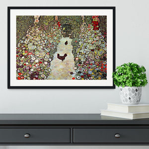 Garden Path with Chickens by Klimt Framed Print - Canvas Art Rocks - 1