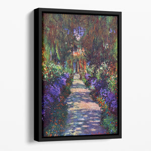 Garden at Giverny by Monet Floating Framed Canvas