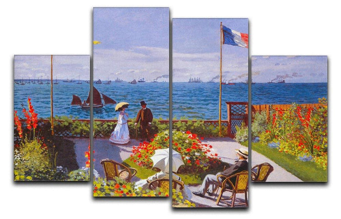 Garden at Sainte Adresse 2 by Monet 4 Split Panel Canvas