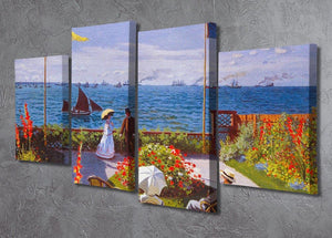 Garden at Sainte Adresse 2 by Monet 4 Split Panel Canvas - Canvas Art Rocks - 2