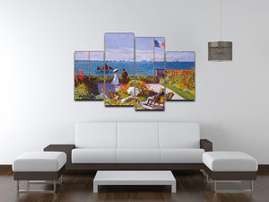 Garden at Sainte Adresse 2 by Monet 4 Split Panel Canvas - Canvas Art Rocks - 3