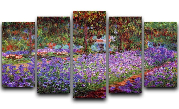 Garden in Giverny by Monet 5 Split Panel Canvas