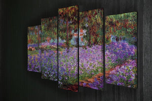 Garden in Giverny by Monet 5 Split Panel Canvas - Canvas Art Rocks - 2