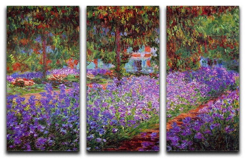 Garden in Giverny by Monet Split Panel Canvas Print - Canvas Art Rocks - 4
