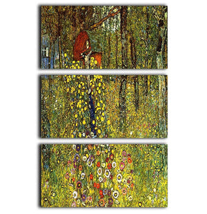 Garden with crucifix by Klimt 3 Split Panel Canvas Print - Canvas Art Rocks - 1