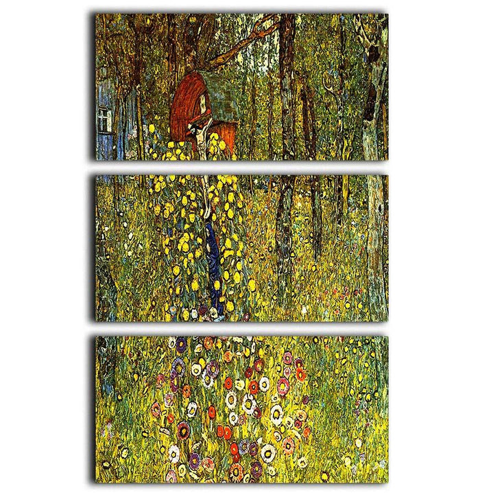 Garden with crucifix by Klimt 3 Split Panel Canvas Print