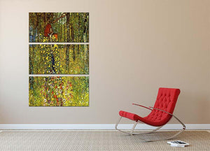 Garden with crucifix by Klimt 3 Split Panel Canvas Print - Canvas Art Rocks - 2