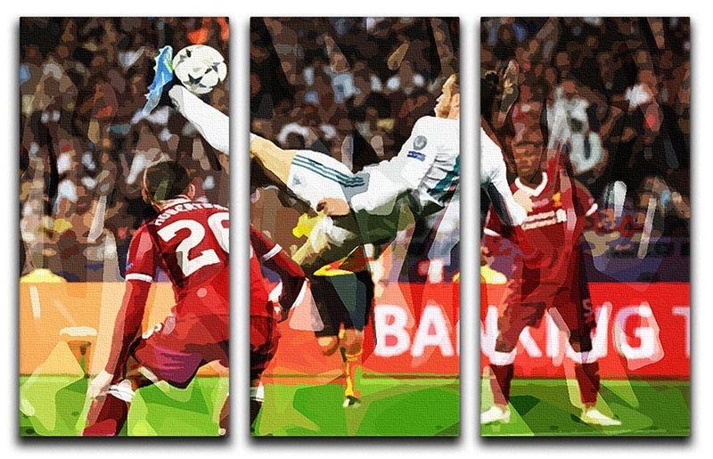 Gareth Bale Overhead Kick 3 Split Panel Canvas Print - Canvas Art Rocks - 1