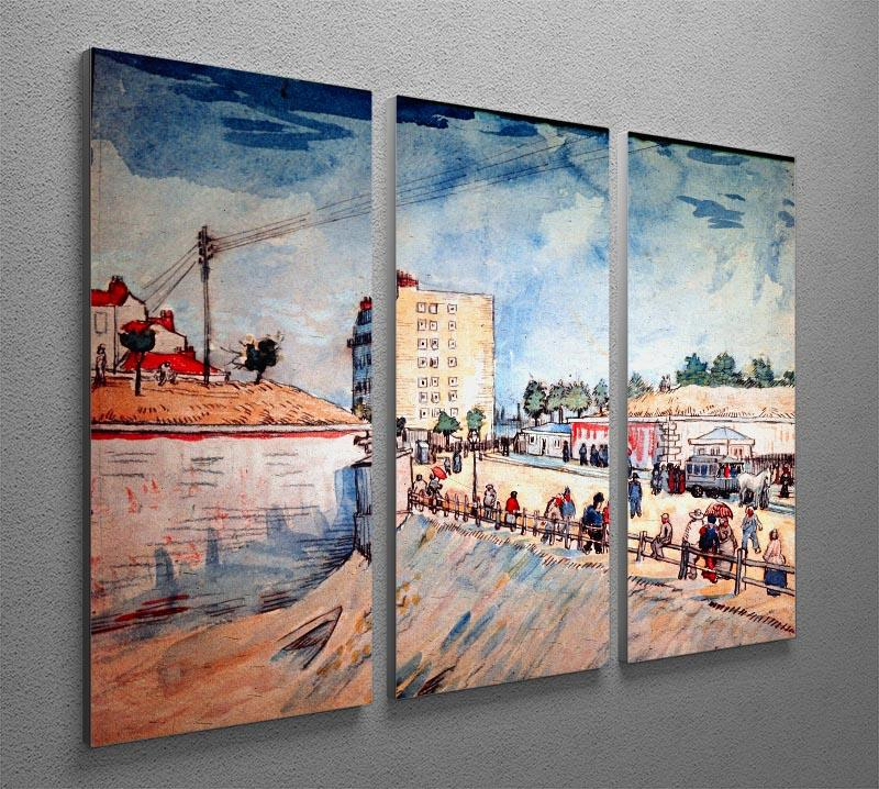 Gate in the Paris Ramparts by Van Gogh 3 Split Panel Canvas Print - Canvas Art Rocks - 4