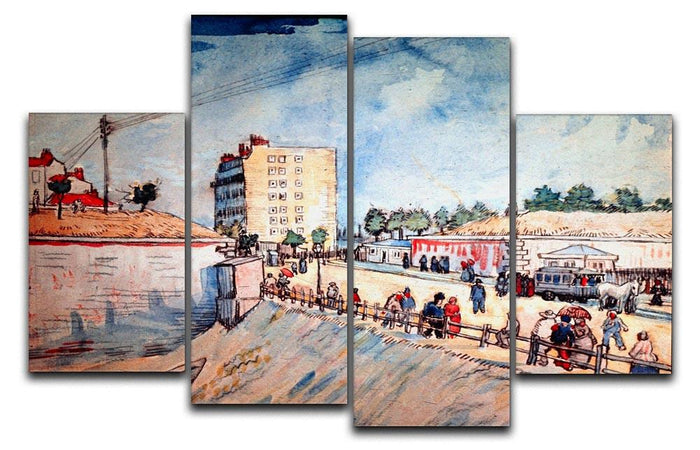 Gate in the Paris Ramparts by Van Gogh 4 Split Panel Canvas