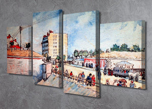 Gate in the Paris Ramparts by Van Gogh 4 Split Panel Canvas - Canvas Art Rocks - 2