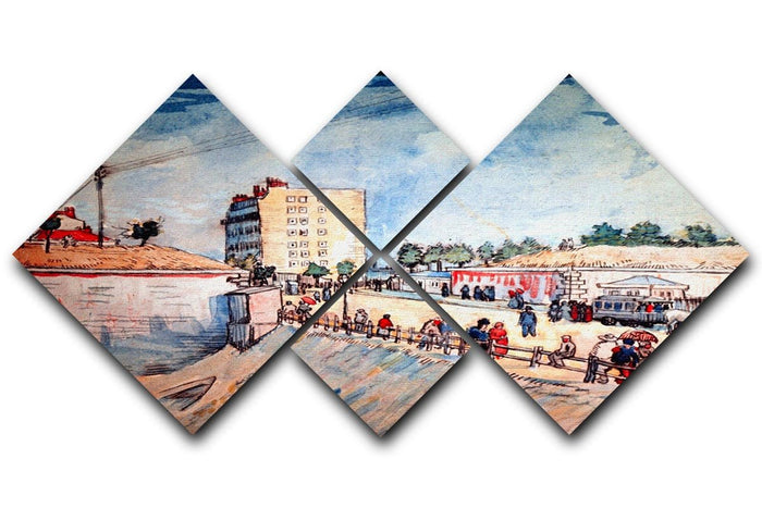Gate in the Paris Ramparts by Van Gogh 4 Square Multi Panel Canvas