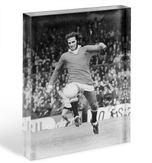 George Best Manchester United in 1971 Acrylic Block - Canvas Art Rocks - 1