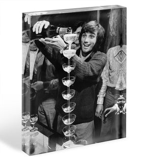 George Best pouring champagne Acrylic Block - Canvas Art Rocks - 1