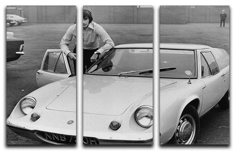 George Best with his Lotus Europa 3 Split Panel Canvas Print - Canvas Art Rocks - 1