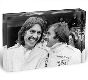 George Harrison and racing driver Jackie Stewart Acrylic Block - Canvas Art Rocks - 1