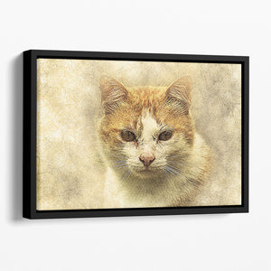 Ginger Cat Painting Floating Framed Canvas