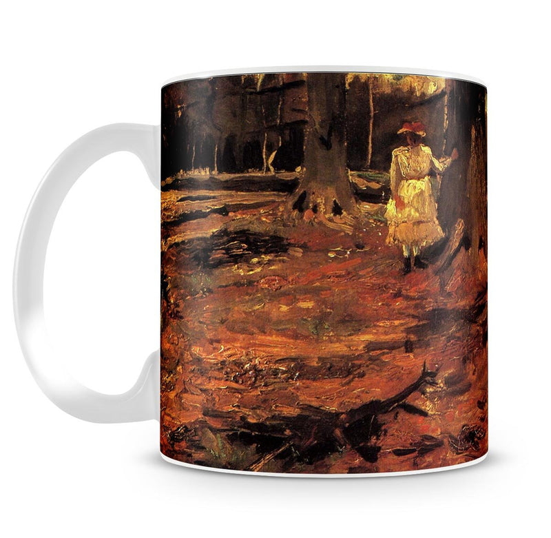 Girl in White in the Woods by Van Gogh Mug - Canvas Art Rocks - 4
