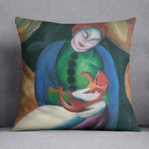 Girl with a Cat II by Franz Marc Cushion