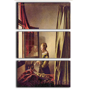 Girls at the open window by Vermeer 3 Split Panel Canvas Print - Canvas Art Rocks - 1