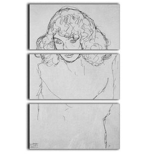 Girls head by Klimt 3 Split Panel Canvas Print - Canvas Art Rocks - 1
