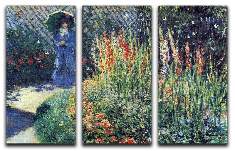 Gladiolas by Monet Split Panel Canvas Print - Canvas Art Rocks - 4
