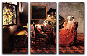 Glass of wine by Vermeer 3 Split Panel Canvas Print - Canvas Art Rocks - 1